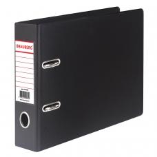Папка-регистратор BRAUBERG, А5, горизонтальная, с двухсторонним покрытием из ПВХ, 70 мм, черная, 223190