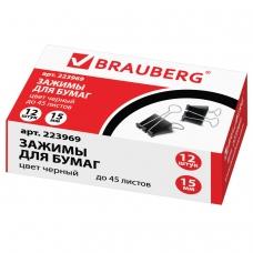 Зажимы для бумаг BRAUBERG, комплект 12 шт., 15 мм, на 45 л., черные, в картонной коробке, 223969