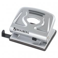 Дырокол BRAUBERG Meister, металлический, средний, на 20 листов, серебристый, 224339