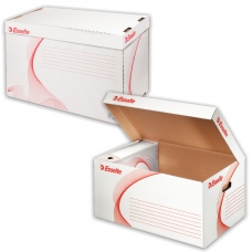 Короб архивный ESSELTE Standard для регистраторов/накопителей 56х26,5х38 см, откидная крышка, белый, 128900