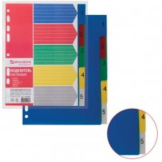 Разделитель пластиковый BRAUBERG, А5, 5 листов, цифровой 1-5, оглавление, цветной, 225628