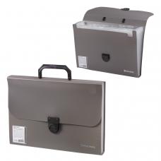 Портфель пластиковый BRAUBERG, Проект А4, 330х240х35 мм, 13 отделений, фактура стандарт, серый, 226027