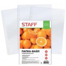 Папки-файлы перфорированные, А4, STAFF, комплект 100 шт., апельсиновая корка, 45 мкм, 226832