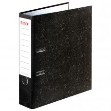 Папка-регистратор STAFF Бюджет с мраморным покрытием, 70 мм, без уголка, черный корешок, 227185
