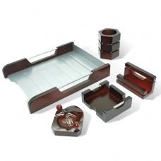 Набор настольный GALANT Wood&Metal, 5 предметов красное дерево, никелированный металл, лоток, 230873