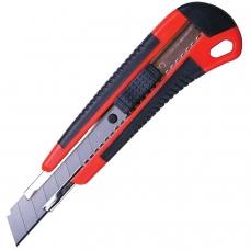 Нож универсальный 18 мм BRAUBERG, автофиксатор, резиновые вставки, + 2 лезвия, блистер, 230919