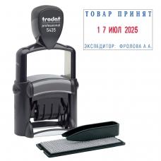 Датер самонаборный металлический, 2 строки+дата, оттиск 41х24 мм, сине-красный, TRODAT 5435, касса в комплекте, 53460