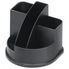 Подставка-органайзер СТАММ Авангард, 132х122х108 мм, 5 отделений, черная, ОР52