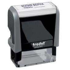 Штамп стандартный КОПИЯ ВЕРНА, подпись, оттиск 38х14 мм, синий, TRODAT 4911P4-3.42, 54194