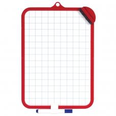 Доска для рисования двусторонняя с маркером и губкой, ПИФАГОР, 185х260 мм, клетка, подвес, 236897