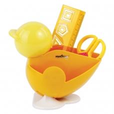 Канцелярский детский набор ЮНЛАНДИЯ ЦЫПЛЕНОК, 4 предмета: подставка, линейка со скрепками, ножницы, ластик, цвет желтый, блистер
