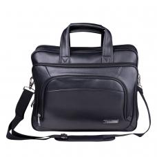 Сумка деловая для офиса и учебы BRAUBERG Favorite, отделение для планшета и ноутбука 15,6, 32х41х12см, кожзам, черная, 240399