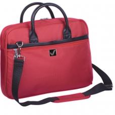 Сумка деловая для офиса и учебы BRAUBERG Dialog, отделение для планшета и ноутбука 15,6, 30х40х7 см, ткань, красная, 240462