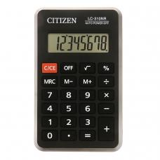 Калькулятор CITIZEN карманный LC310NR, 8 разрядов, питание от батарейки, 115х69 мм, LC-310NR