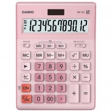 Калькулятор CASIO настольный GR-12С-PK, 12 разрядов, двойное питание, 210х155 мм, розовый, GR-12C-PK-W-EP
