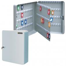 Шкафчик Ключница на 140 ключей BRAUBERG, 370х280х80 мм, с замком, +140 брелоков, серый, 290340