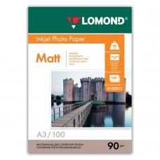 Фотобумага LOMOND для струйной печати, A3, 90 г/м2, 100 л., односторонняя матовая, 0102011