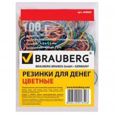 Резинки банковские универсальные, BRAUBERG 100 г, диаметр 60 мм, цветные, натуральный каучук, 440036