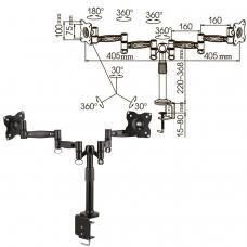 Кронштейн для 2 мониторов настольный KROMAX OFFICE-3, VESA 75/100, 10-24, до 2х10 кг, 7 степеней свободы, 20032