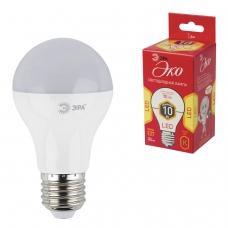 Лампа светодиодная ЭРА, 10 70 Вт, цоколь E27, грушевидная, теплый белый свет, 25000 ч., LED smdA60-10w-827-E27ECO