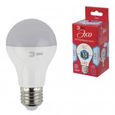 Лампа светодиодная ЭРА, 10 70 Вт, цоколь E27, грушевидная, холодный белый свет, 25000 ч., LED smdA60-10w-840-E27ECO