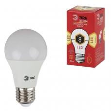 Лампа светодиодная ЭРА, 8 55 Вт, цоколь E27, грушевидная, теплый белый свет, 25000 ч., LED smdA55\60-8w-827-E27ECO, A60-8w-827-E27