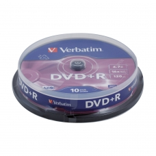Диски DVD+R плюс VERBATIM 4,7 Gb 16x, КОМПЛЕКТ 10 шт., Cake Box, 43498