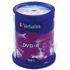 Диски DVD+R плюс VERBATIM 4,7 Gb 16x, КОМПЛЕКТ 100 шт., Cake Box, 43551