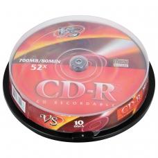 Диски CD-R VS 700 Mb 52x, КОМПЛЕКТ 10 шт., Cake Box, VSCDRCB1001