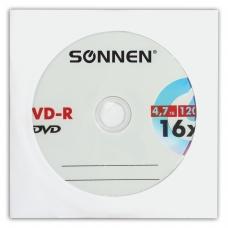 Диск DVD-R SONNEN, 4,7 Gb, 16x, бумажный конверт 1 штука, 512576