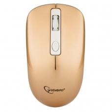 Мышь беспроводная бесшумная GEMBIRD MUSW-400-G, 3 кнопки+1 колесо-кнопка, оптическая, бело-золотая