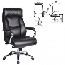 Кресло офисное BRABIX Phaeton EX-502, натуральная кожа, хром, черное, 530882