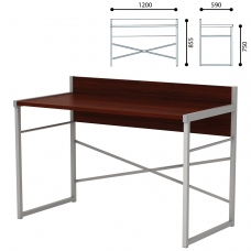 Стол письменный на металлокаркасе, 1200х590х855 мм, серый каркас, ЛДСП, орех, Д-248
