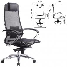 Кресло офисное МЕТТА SAMURAI S-1, сверхпрочная ткань-сетка, черное