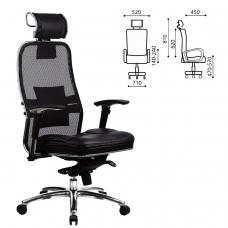 Кресло офисное МЕТТА SAMURAI SL-3, с подголовником, сверхпрочная ткань-сетка/кожа, черное