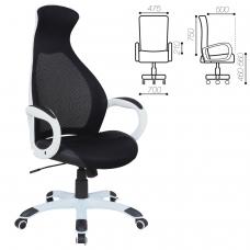 Кресло офисное BRABIX Genesis EX-517, пластик белый, ткань/экокожа/сетка черная, 531573