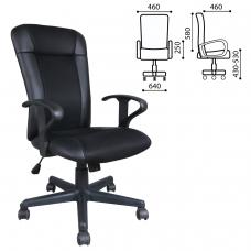 Кресло BRABIX Optima MG-370, с подлокотниками, экокожа/ткань, черное, 531580