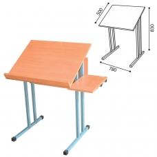 Стол-парта 1-местный для черчения, 780х500х830 мм, рост 6, серый каркас, ЛДСП бук