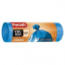 Мешки для мусора 120 л, синие, в рулоне 10 шт., ПНД, 20 мкм, 110х70 см, PACLAN Classic