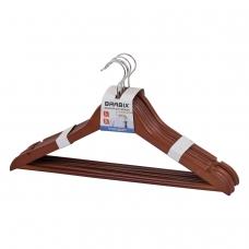 Вешалки-плечики, размер 48-50, КОМПЛЕКТ 5 шт., дерево, перекладина, цвет вишня, BRABIX Стандарт, 601161