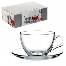 Набор чайный Basic на 6 персон 6 кружек 215 мл, 6 блюдец, стекло, PASABAHCE, 97948
