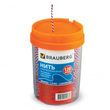 Нить хлопчатобумажная для прошивки документов BRAUBERG, диаметр 1,6 мм, длина 120 м, в диспенсере, ТРИКОЛОР, 601813