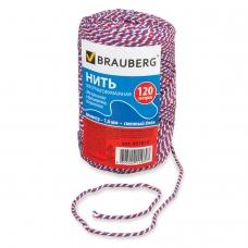 Нить хлопчатобумажная для прошивки документов BRAUBERG, диаметр 1,6 мм, длина 120 м, сменный блок, ТРИКОЛОР, 601814