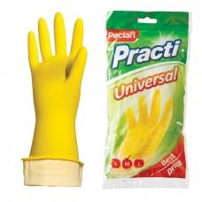 Перчатки хозяйственные резиновые PACLAN Universal, с х/б напылением, размер M средний, желтые