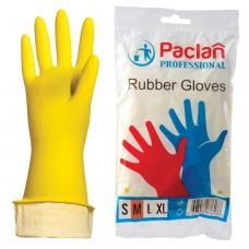 Перчатки хозяйственные резиновые PACLAN Professional, с х/б напылением, размер M средний, желтые
