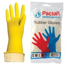 Перчатки хозяйственные резиновые PACLAN Professional, с х/б напылением, размер XL очень большой, желтые