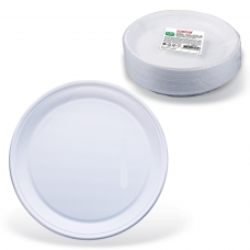 Одноразовые тарелки плоские, КОМПЛЕКТ 100 шт., пластик, d=220 мм, СТАНДАРТ, белые, ПП, холодное/горячее, ЛАЙМА, 602649