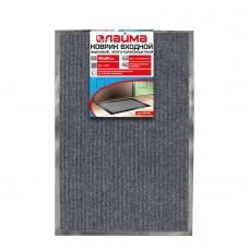 Коврик входной ворсовый влаго-грязезащитный ЛАЙМА/ЛЮБАША, 40х60 см, ребристый, толщина 7 мм, серый, 602861