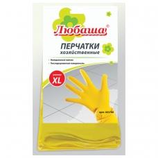 Перчатки хозяйственные латексные ЛЮБАША ЭКОНОМ, МНОГОРАЗОВЫЕ, хлопчатобумажное напыление, размер XL очень большой, 603786