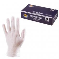 Перчатки виниловые, КОМПЛЕКТ 50 пар 100 шт., без хлопчатобумажного напыления, XL очень большой, AVIORA, 402-673